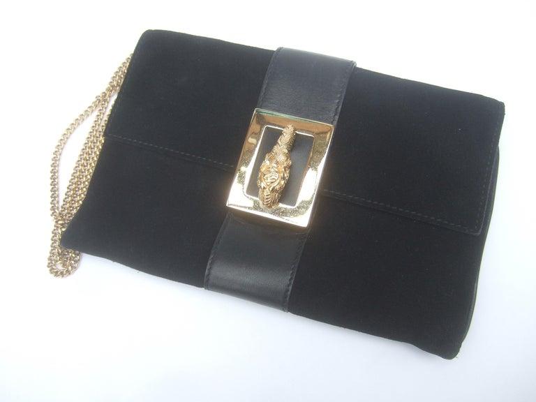 Gucci Black Suede Gilt Tiger Emblem Handbag Tom Ford Era c 1990s For Sale 12