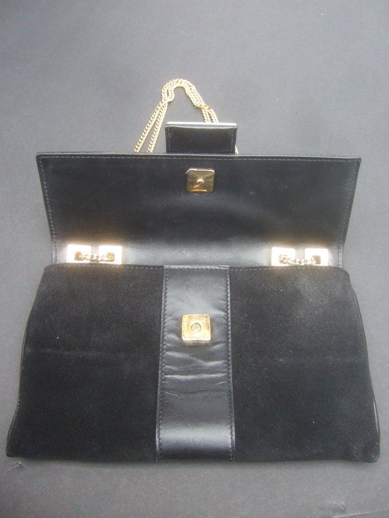 Gucci Black Suede Gilt Tiger Emblem Handbag Tom Ford Era c 1990s For Sale 13