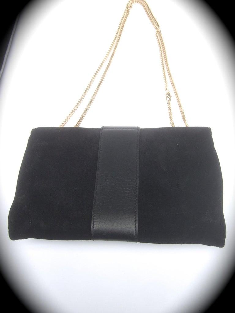 Gucci Black Suede Gilt Tiger Emblem Handbag Tom Ford Era c 1990s For Sale 14