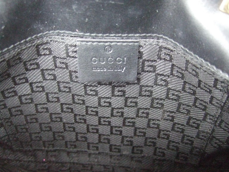 Gucci Black Suede Gilt Tiger Emblem Handbag Tom Ford Era c 1990s For Sale 16