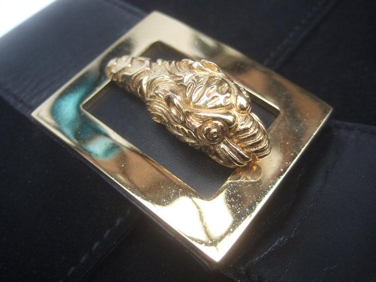 Gucci Black Suede Gilt Tiger Emblem Handbag Tom Ford Era c 1990s In Good Condition For Sale In Santa Barbara, CA