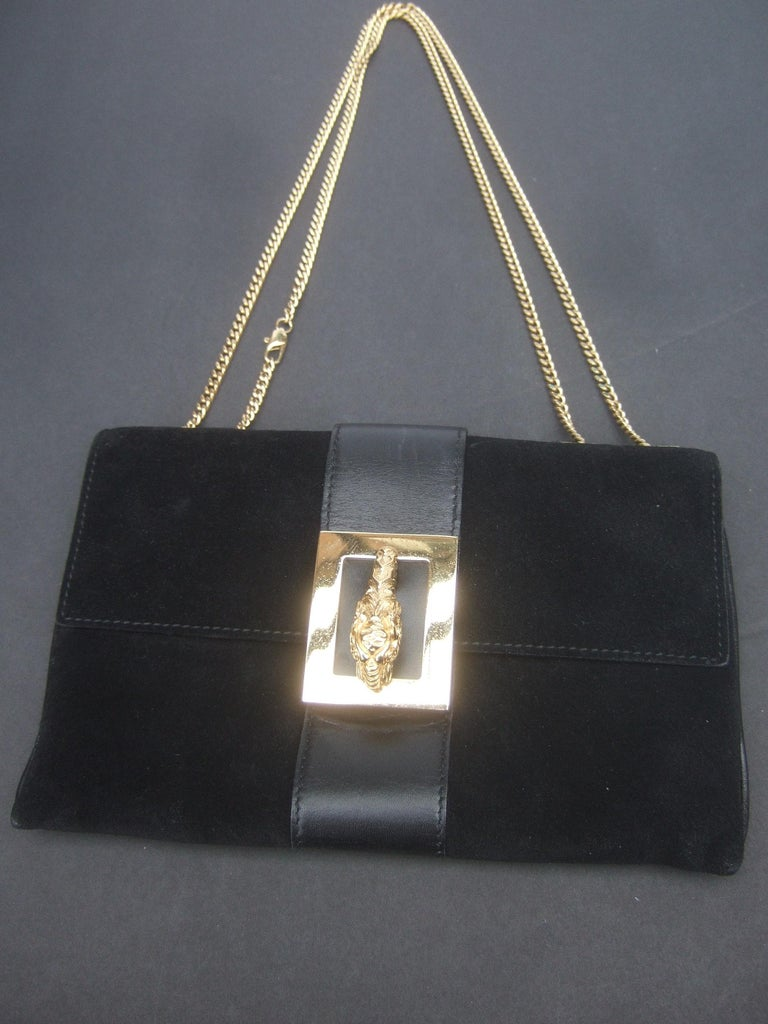 Women's Gucci Black Suede Gilt Tiger Emblem Handbag Tom Ford Era c 1990s For Sale