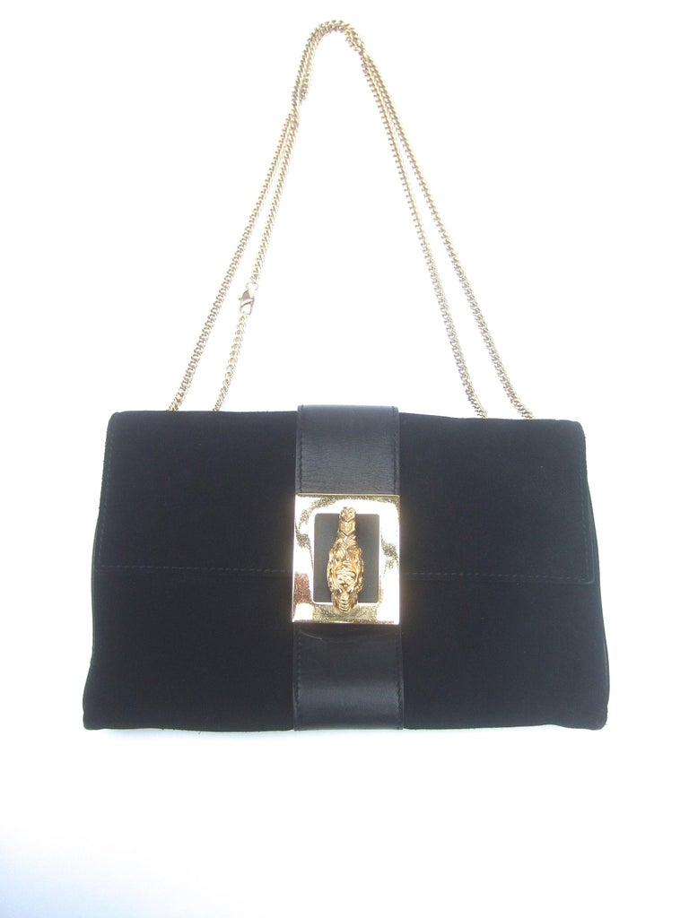 Gucci Black Suede Gilt Tiger Emblem Handbag Tom Ford Era c 1990s For Sale 1