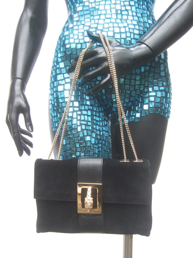 Gucci Black Suede Gilt Tiger Emblem Handbag Tom Ford Era c 1990s For Sale 2