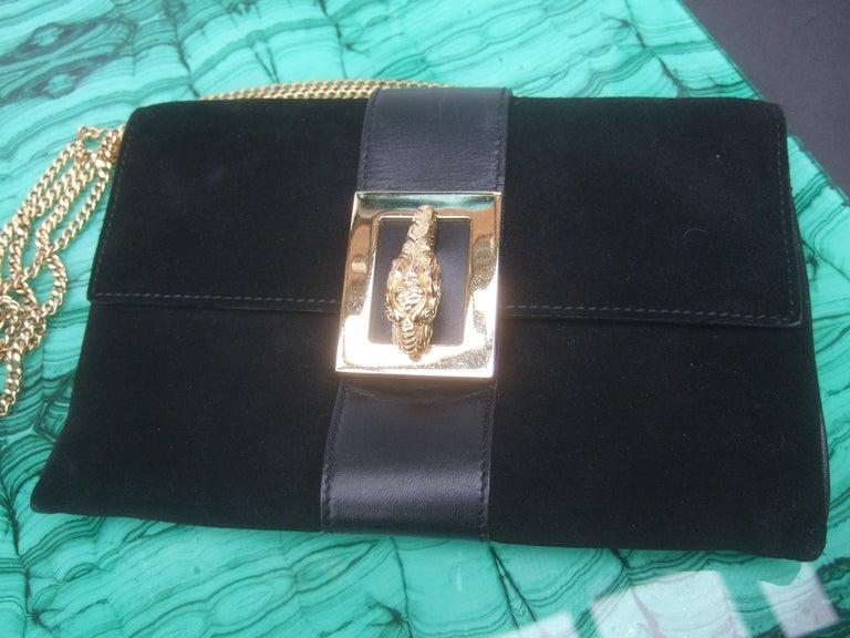 Gucci Black Suede Gilt Tiger Emblem Handbag Tom Ford Era c 1990s For Sale 3