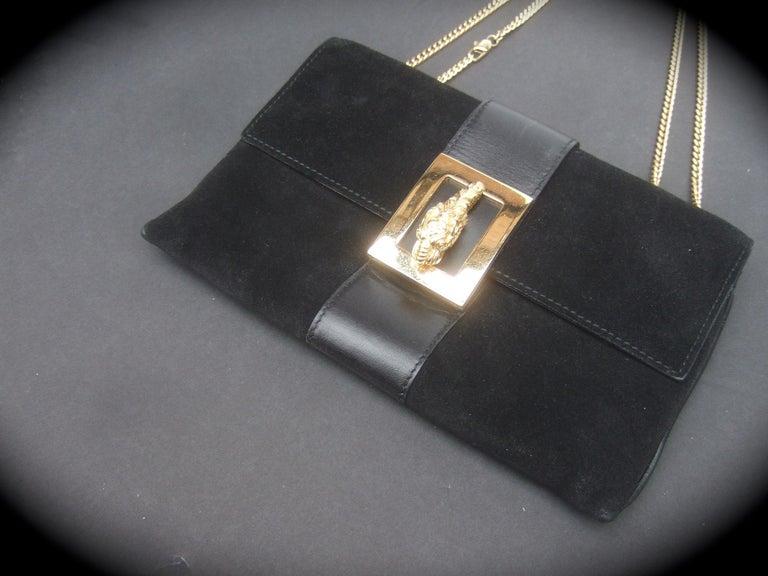 Gucci Black Suede Gilt Tiger Emblem Handbag Tom Ford Era c 1990s For Sale 4