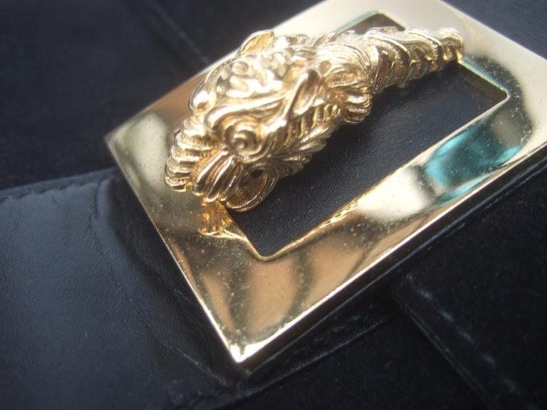 Gucci Black Suede Gilt Tiger Emblem Handbag Tom Ford Era c 1990s For Sale 5