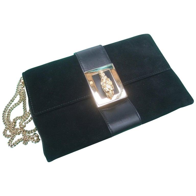 Gucci Black Suede Gilt Tiger Emblem Handbag Tom Ford Era c 1990s For Sale