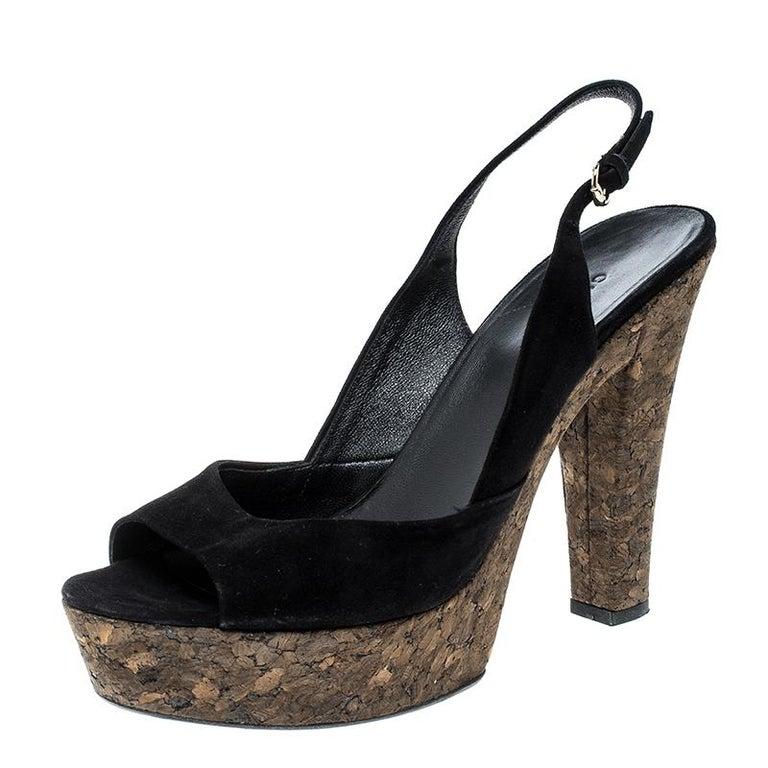 dcf5921f41d Gucci Black Suede Grease Cork Platform Peep Toe Slingback Sandals Size 40  For Sale at 1stdibs