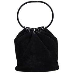 Gucci Black Suede Hoop Handbag