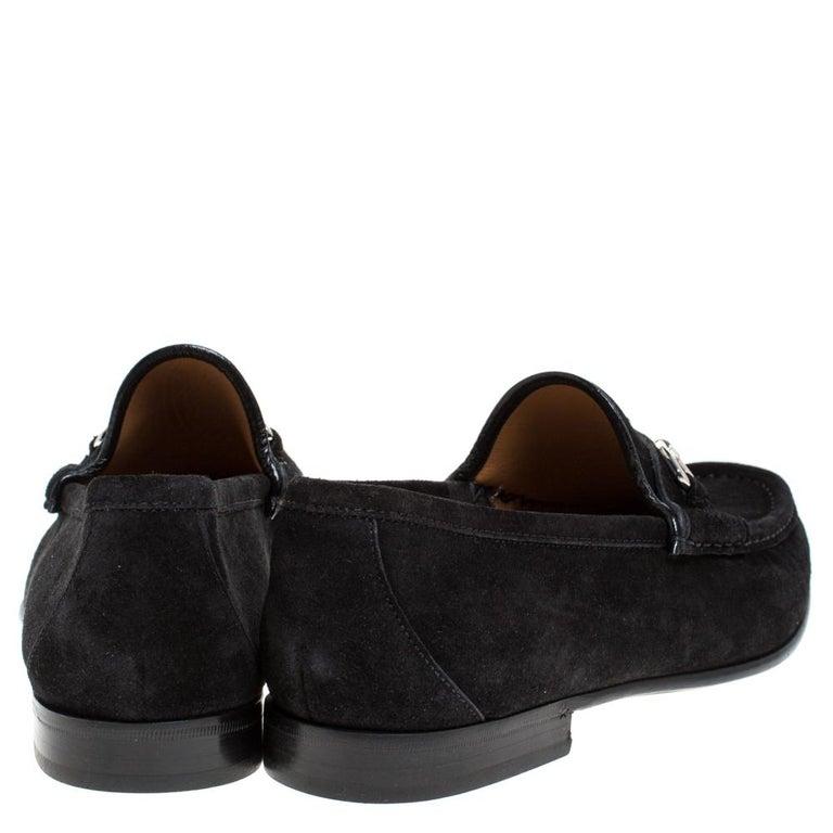 Men's Gucci Black Suede Horsebit Slip On Loafers Size 40 For Sale