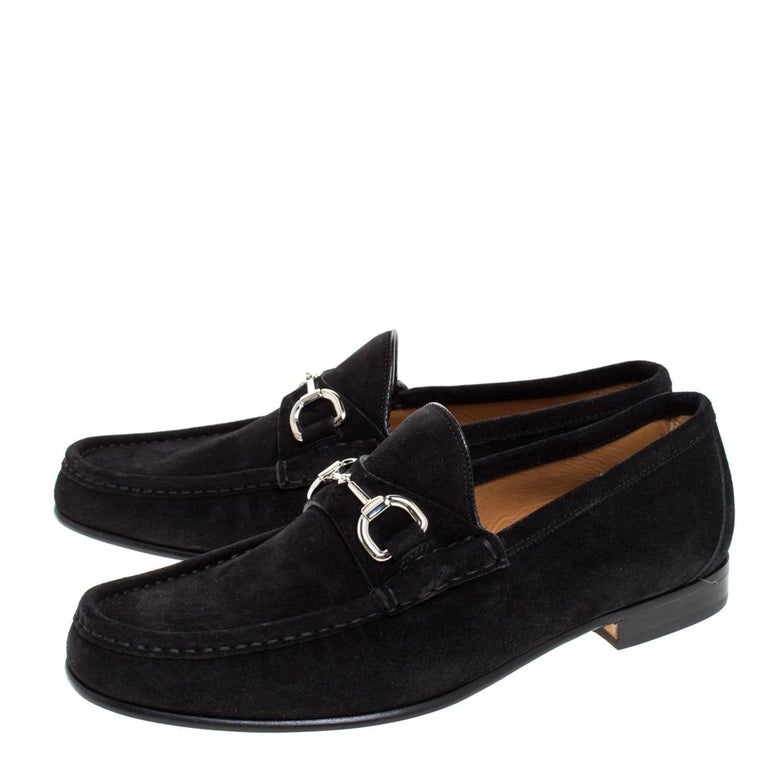 Gucci Black Suede Horsebit Slip On Loafers Size 40 For Sale 1