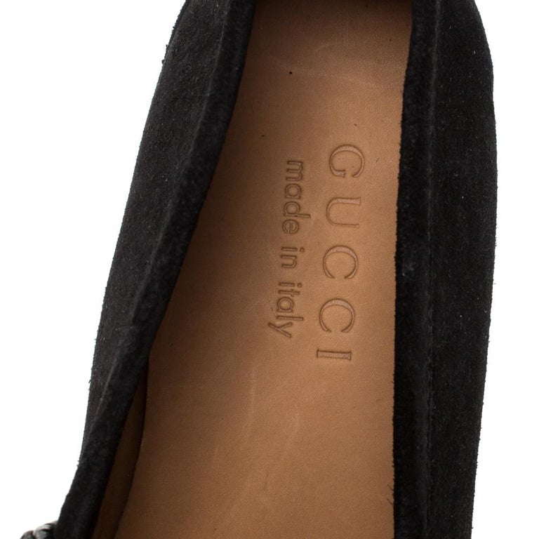 Gucci Black Suede Horsebit Slip On Loafers Size 40 For Sale 2