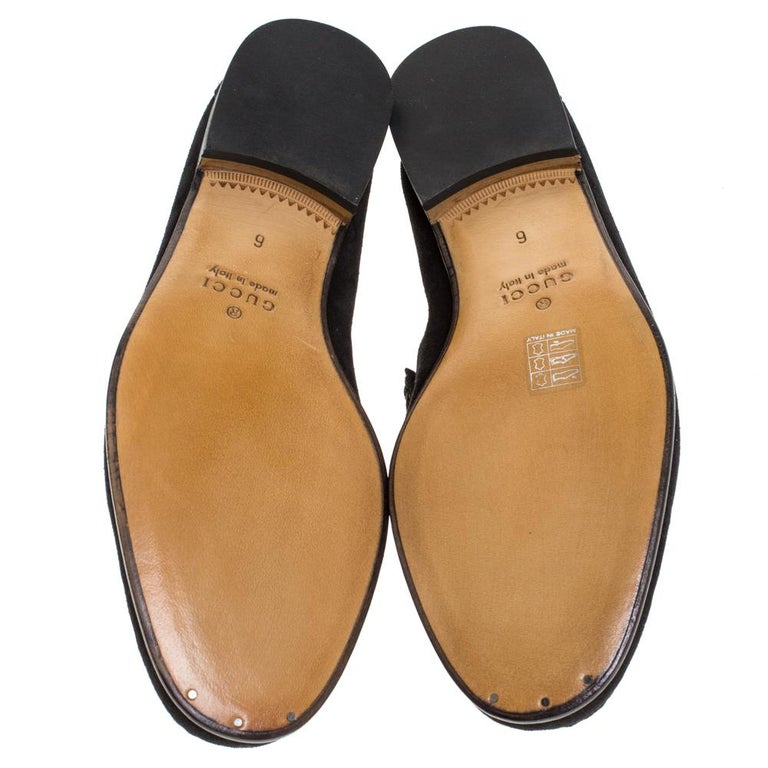 Gucci Black Suede Horsebit Slip On Loafers Size 40 For Sale 3