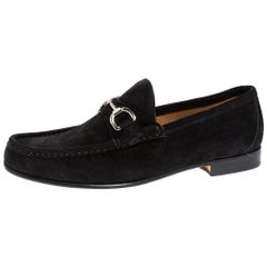 Gucci Black Suede Horsebit Slip On Loafers Size 40
