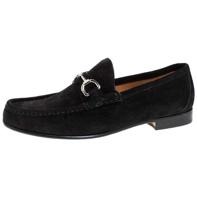 Gucci Black Suede Horsebit Slip On Loafers Size 40 For Sale