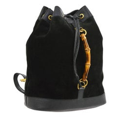 Gucci Black Suede Leather Bamboo 2 in 1 Top Handle Drawstring Backpack Bag