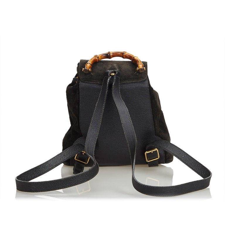 80cee40c0ccd Gucci Black Suede Leather Bamboo Drawstring Backpack Italy In Good  Condition For Sale In Orlando,