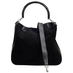 Gucci Black Suede Leather Bamboo Satchel Italy