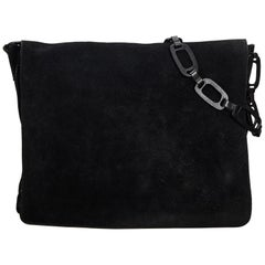 Gucci Black Suede Leather Chain Shoulder Bag Italy
