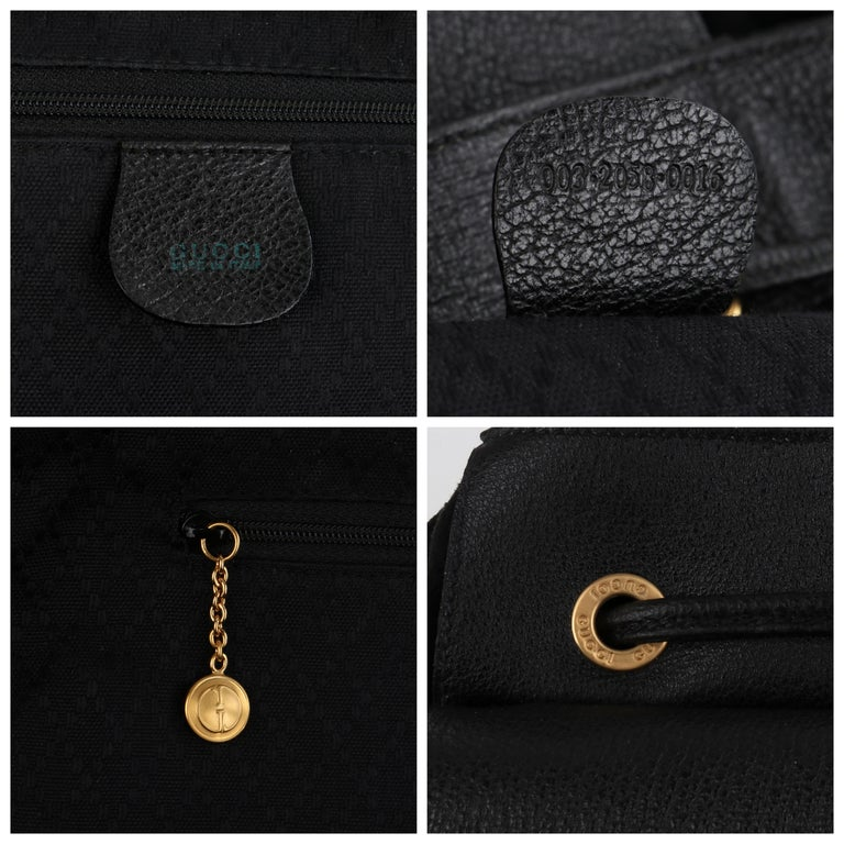 GUCCI Black Suede Leather Drawstring Bamboo Handle Two Pocket Backpack Handbag For Sale 8