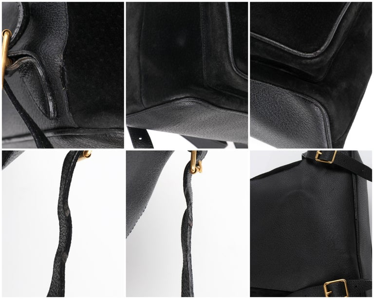 GUCCI Black Suede Leather Drawstring Bamboo Handle Two Pocket Backpack Handbag For Sale 9