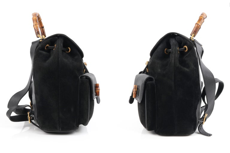Women's GUCCI Black Suede Leather Drawstring Bamboo Handle Two Pocket Backpack Handbag For Sale
