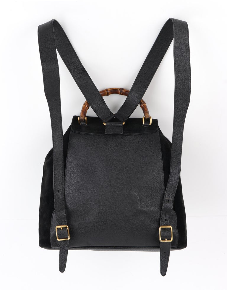 GUCCI Black Suede Leather Drawstring Bamboo Handle Two Pocket Backpack Handbag For Sale 1
