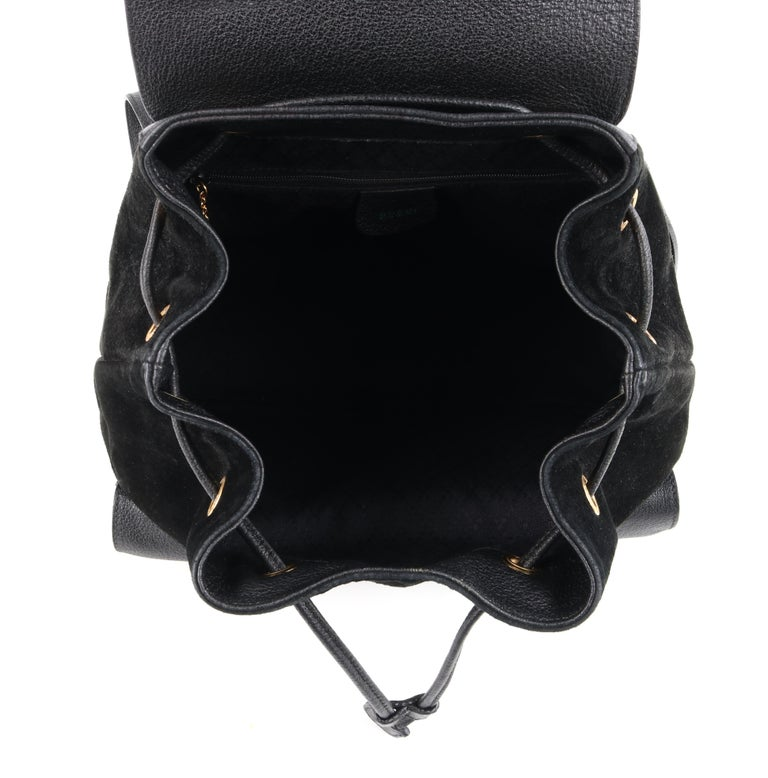GUCCI Black Suede Leather Drawstring Bamboo Handle Two Pocket Backpack Handbag For Sale 2
