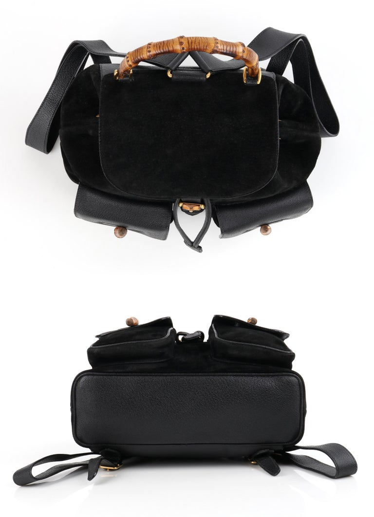GUCCI Black Suede Leather Drawstring Bamboo Handle Two Pocket Backpack Handbag For Sale 3