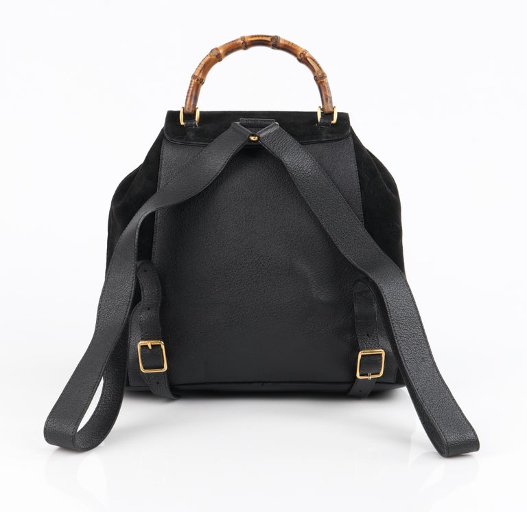 GUCCI Black Suede Leather Drawstring Bamboo Handle Two Pocket Backpack Handbag For Sale 4