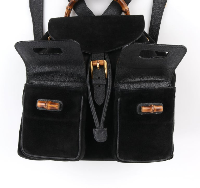 GUCCI Black Suede Leather Drawstring Bamboo Handle Two Pocket Backpack Handbag For Sale 5
