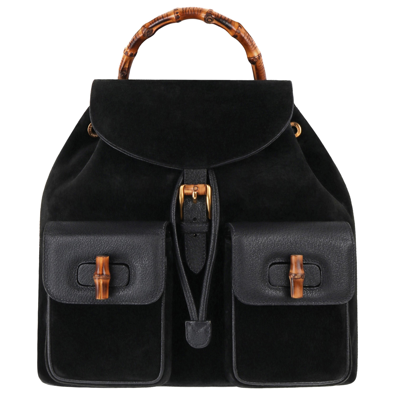 GUCCI Black Suede Leather Drawstring Bamboo Handle Two Pocket Backpack Handbag