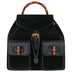 GUCCI Black Suede Leather Drawstring Bamboo Handle Two Pocket Backpack Handbag