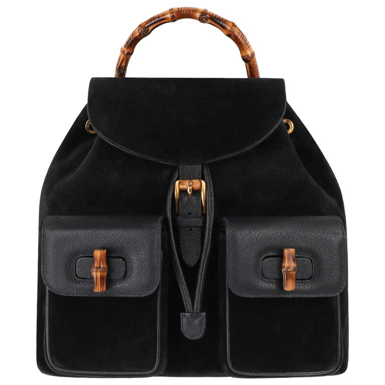 GUCCI Black Suede Leather Drawstring Bamboo Handle Two Pocket Backpack Handbag For Sale