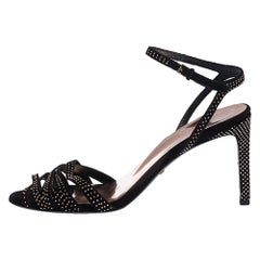 Gucci Black Suede Leather Fleur Studded Ankle Strap Sandals Size 37.5
