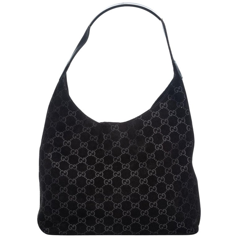 a4c214f1 Gucci Black Suede Leather GG Hobo Bag Italy w/ Dust Bag