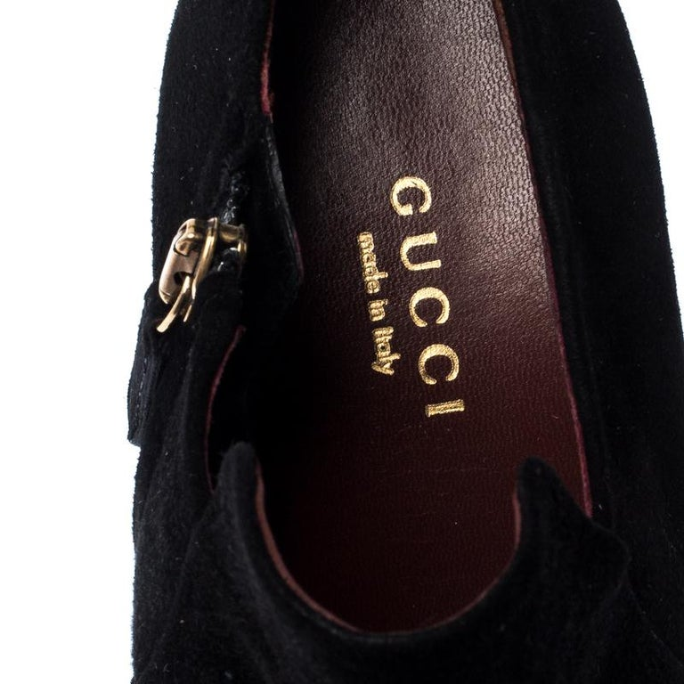 Gucci Black Suede Leather Tassel Booties Size 36.5 For Sale 2