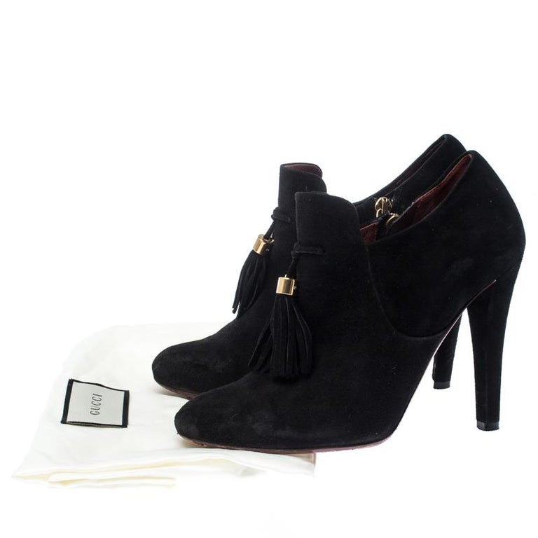 Gucci Black Suede Leather Tassel Booties Size 36.5 For Sale 4