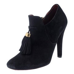 Gucci Black Suede Leather Tassel Booties Size 36.5