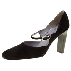 Gucci Black Suede Mary Jane Pumps Size 37.5