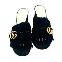 GUCCI Black Suede Mid- Heel Slide Sandals w/ Double G