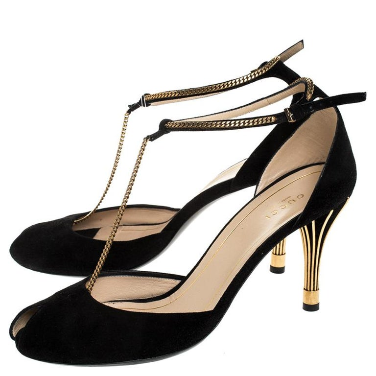 Gucci Black Suede Ophelie Chain Detail Ankle Strap Sandals Size 40 1
