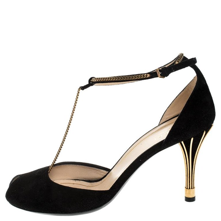 Gucci Black Suede Ophelie Chain Detail Ankle Strap Sandals Size 40 2