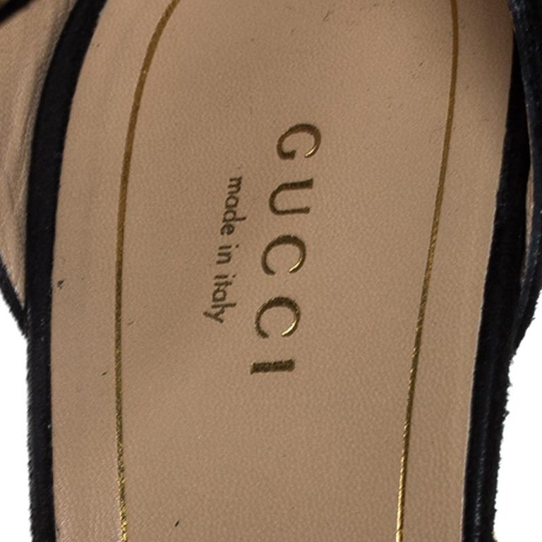 Gucci Black Suede Ophelie Chain Detail Ankle Strap Sandals Size 40 3