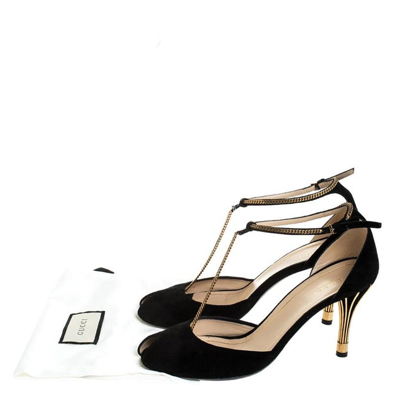 Gucci Black Suede Ophelie Chain Detail Ankle Strap Sandals Size 40 4