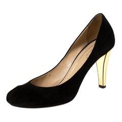 Gucci Black Suede Peep Toe Pumps Size 38.5