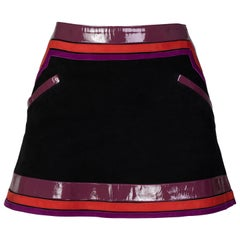 Gucci Black Suede Purple Pink Patent Leather Mod Mini Skirt Runway, 2007