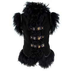 Gucci Black Suede & Shearling Buckle Detail Sleeveless Jacket - Size US 4