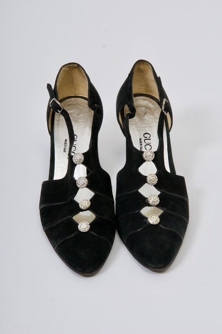 Gucci Black Suede Shoes with Rhinestone Accents For Sale 7